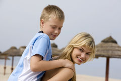 Blond woman an little boy Royalty Free Stock Images