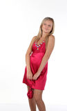 Blond Woman with the little pink Bag Royalty Free Stock Image