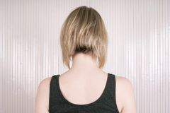 Blond woman with lob or long bob haircut Royalty Free Stock Image
