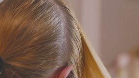 A blond woman with long hair is combing in front of a mirror, preparing her head for coloring hair roots. stock footage