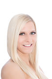 Blond Woman Looking Sideways at Camera in Studio with White Background. Close Up of Blond Woman Looking Sideways at Camera in Studio with White Background Stock Images
