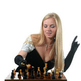 Blond Woman Make Checkmate Royalty Free Stock Images