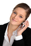 Blond woman with mobile phone. Blond woman with a mobile phone stock image