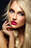 Blond woman model lady with bright makeup and red lips Royalty Free Stock Photo