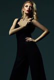 Blond woman model lady in classic black costume Royalty Free Stock Photography