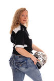 Blond woman with motorcycle helmet. Royalty Free Stock Image