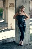 Blond woman near column Royalty Free Stock Photos