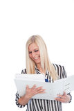 Blond Woman with Open Binder. Happy Blond Woman with Open Binder Stock Image