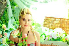 Blond woman outdoor Royalty Free Stock Images