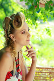 Blond woman outdoor Royalty Free Stock Photos