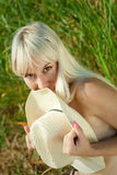 Blond woman outdoors Stock Image