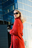 Blond woman outdoors Royalty Free Stock Photo