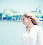Blond woman outdoors portrait Royalty Free Stock Image