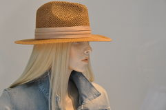 Blond woman with panama hat Royalty Free Stock Photography