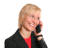 Blond woman with phone royalty free stock photography