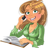 Blond woman with phone and book. Blond vector woman with phone and book Royalty Free Stock Photo