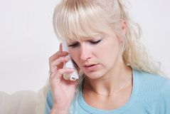 Blond woman phoning Royalty Free Stock Photography