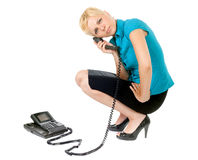 Blond woman phoning Stock Image