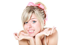 Blond woman with pink bow Royalty Free Stock Photo