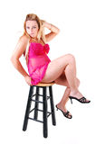 Blond woman in pink lingerie. Stock Photos