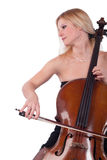 Blond woman playing cello (cellist) Stock Images