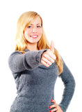 Blond woman pointing ok sign over white Royalty Free Stock Photography