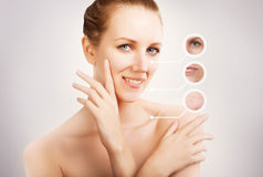 blond woman portrait with circles of old skin Stock Image
