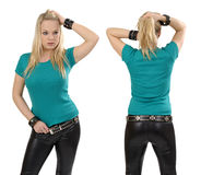 Blond woman posing with blank jade shirt Stock Photo