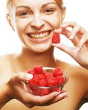 Blond woman with raspberries Stock Photo