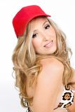 Blond woman red hat Stock Photos