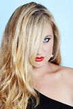 Blond woman with red lipstick Stock Photo