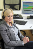 Blond woman sales operator royalty free stock photo