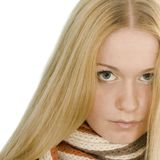 Blond woman in a scarf. On white.Close up. Copy space Royalty Free Stock Photo
