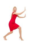 Blond woman in scarlet dress isolated on white Royalty Free Stock Photos