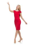 Blond woman in scarlet dress isolated on white Royalty Free Stock Photo