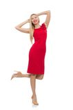 Blond woman in scarlet dress isolated on the white Stock Photography