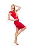 Blond woman in scarlet dress isolated on the white Stock Photo