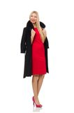 Blond woman in scarlet dress isolated on the white Royalty Free Stock Photography