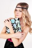 Blond woman with shopping bag Royalty Free Stock Photos