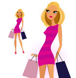 Blond woman with shopping bags. Cute blond shopper girl isolated on white. Vector Illustration Stock Photo