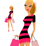 Blond woman shopping woman Stock Image