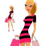 Blond woman shopping woman Stock Image