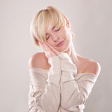 The blond woman with short hair  emotions expressive Royalty Free Stock Images