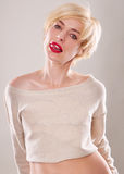 The blond woman with short hair  emotions expressive Stock Photos