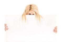 Blond woman show billboard Stock Photos