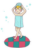 A blond woman after the shower. Funny cartoon illu Stock Photos