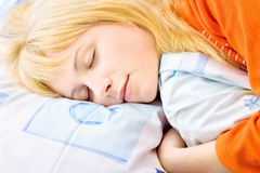 Blond woman sleeping Stock Photography