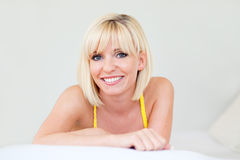Blond woman smiling Royalty Free Stock Images