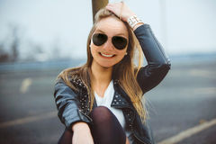 Blond woman smiling Stock Photos