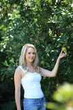 Blond woman. Standing blond woman holding a fruit in the garden Royalty Free Stock Photography